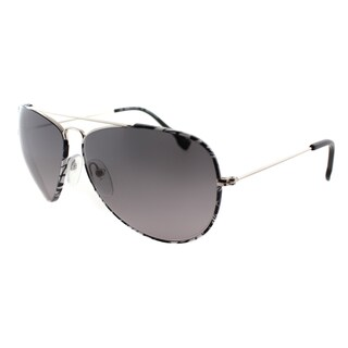 Emilio Pucci Women's EP 125S 045 Silver Black And White Pucci Print Aviator Sunglasses