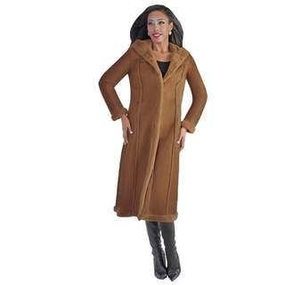 Tally Taylor Women's Shearling Long Coat Brown