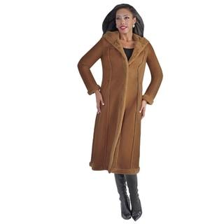 Tally Taylor Women's Shearling Long Coat Brown