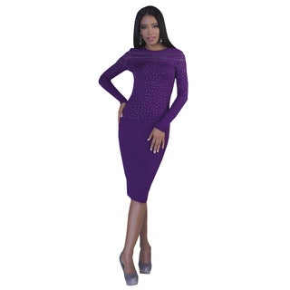 Kayla Collection Women's Mesh and Rhinestone Dress