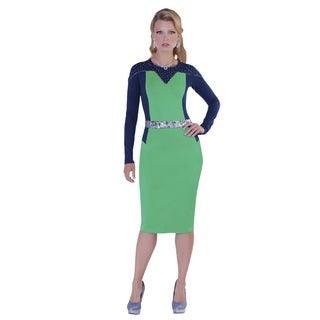 Kayla Collection Women's Metalic Two Tone Rhinestone Dress