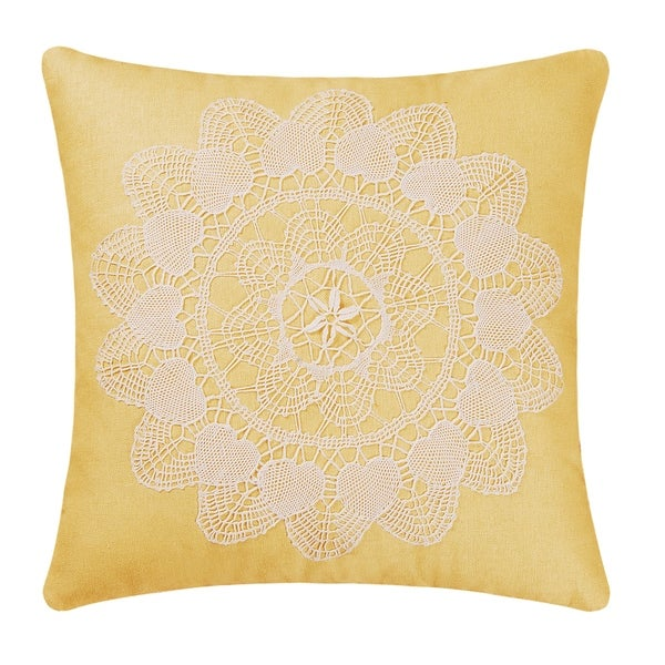 Linen With LaceApplique 16 Inch Throw Pillow