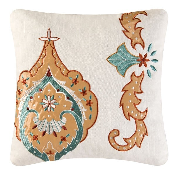 Mandalay Chain Stitch 16 Inch Throw Pillow
