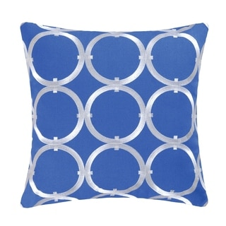 Circle On Blue Embroidered Pillow