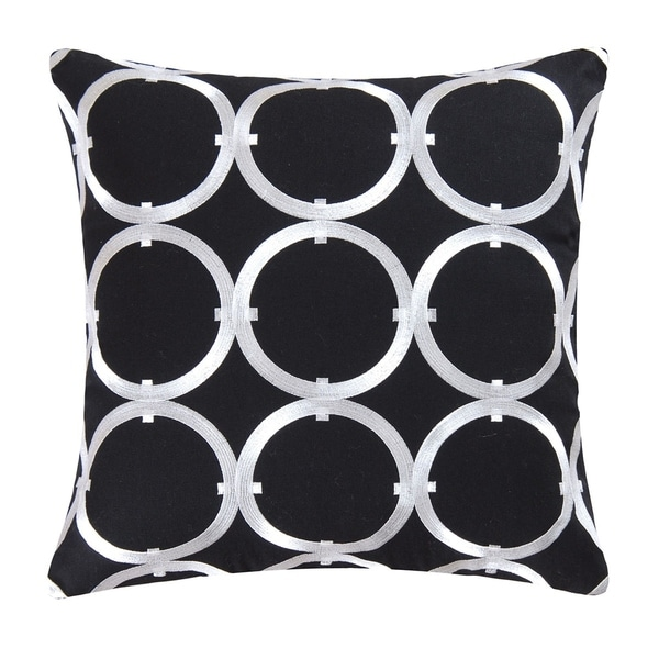 Circle on Black Embroidered 18 Inch Throw Pillow