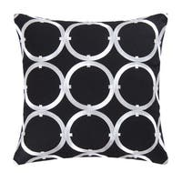 Circle on Black Embroidered Pillow