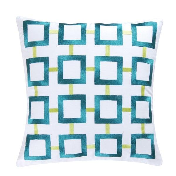 Aqua Squares Embroidered Pillow