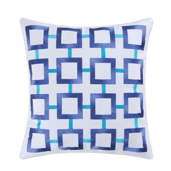Blue Square Embroidered 18 Inch Throw Pillow
