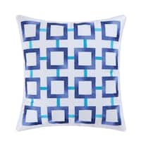 Blue Square Embroidered Pillow