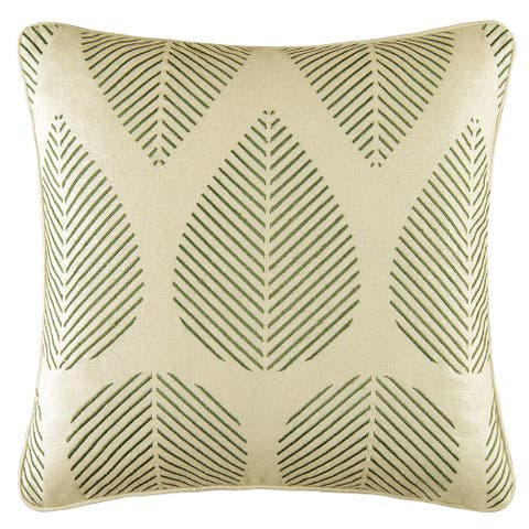 Green Leaves Embroidered 18 Inch Throw Decorative Accent Throw Pillow