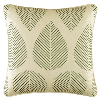 Green Leaves Embroidered Pillow