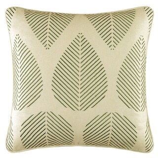 Green Leaves Embroidered 18 Inch Throw Pillow