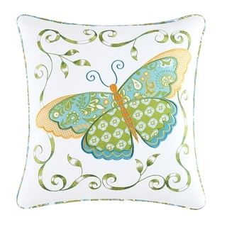 Blue Butterfly Applique 18 Inch Throw Pillow - 18 X 18