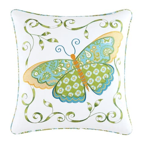 Blue Butterfly Applique 18 Inch Throw Pillow - 18 X 18