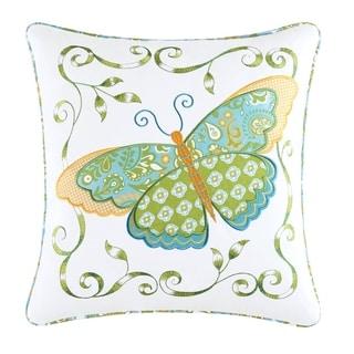 Blue Butterfly Applique Pillow