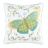 Blue Butterfly Applique 18 Inch Throw Pillow