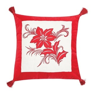 Winter Frost Poinsettia Quilted Pillow
