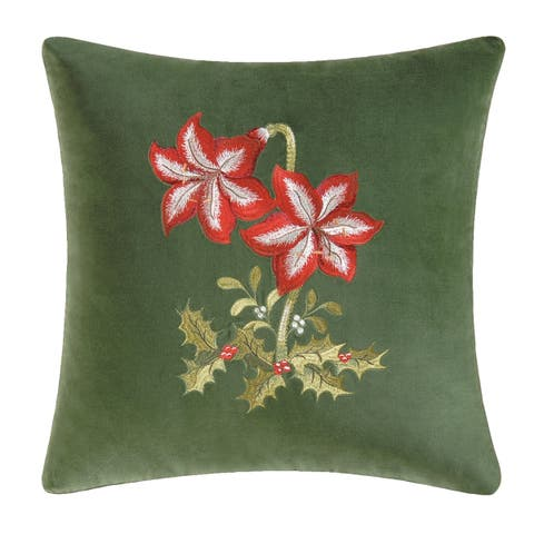Amaryllis Embroidered 18 Inch Throw Pillow