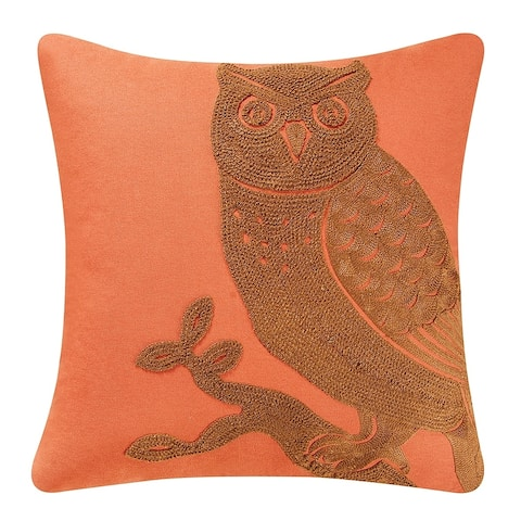 Rustica Owl Rice Stitch 18 Inch Throw Decorative Accent Throw Pillow