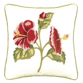 Hibiscus Tufted 18 Inch Throw Pillow