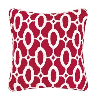 White On Red Tufted Pillow