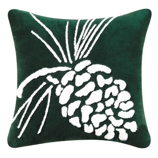 Pinecone on Green Tufted 18 Inch Throw Pillow