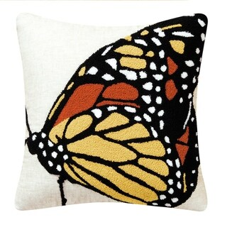 Monarch Butterfly Side Tufted 18 Inch Throw Pillow