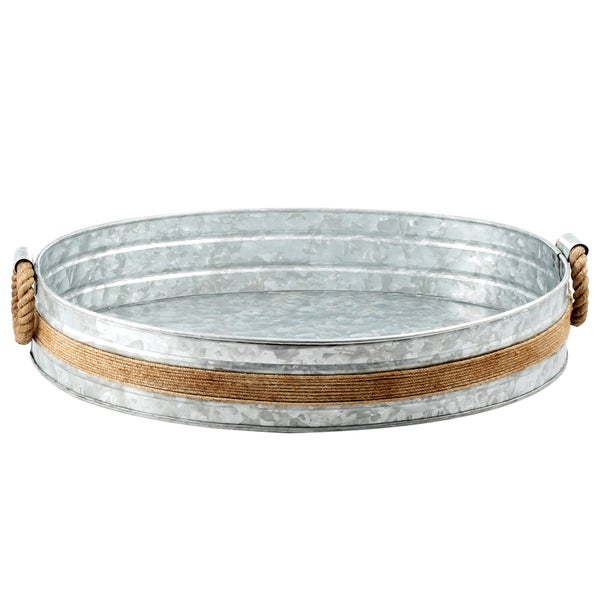 Cambridge Silversmiths Shiloh Galvenized and Rope Bar Tray