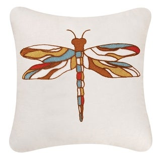 Dragonfly Chain Stitch 18 Inch Throw Pillow