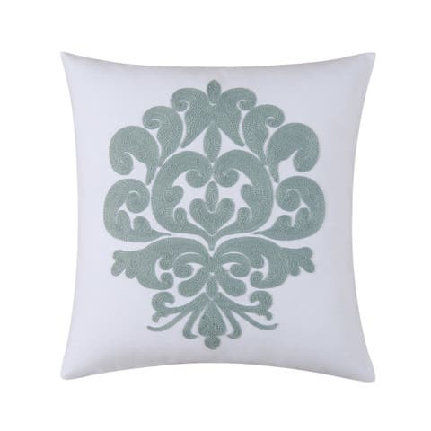Providence Chambray Chain Stitch 18 Inch Throw Decorative Accent Throw Pillow