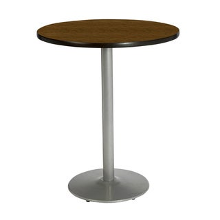 30-inch Round Bar Height Pedestal Table with Round Silver Base