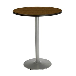 KFI Seating 30in Round Bar Height Pedestal Table with Round Silver Base