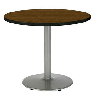 KFI Seating 36in Round Pedestal Table with Round Silver Base