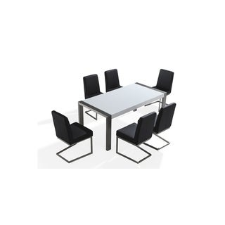 Stainless Steel High-gloss Arctic Top Dining Table Set with 6 Chairs