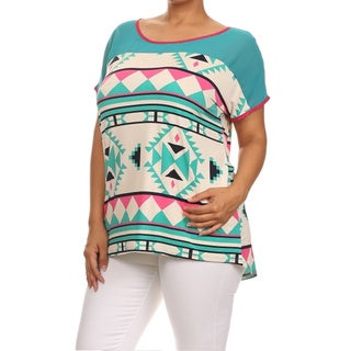 MOA Collection Women's Plus Size Tribal Print Top