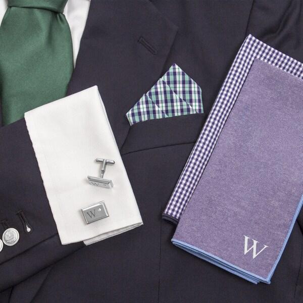 Personalized Green/ Navy Gingham Handkercheif Set with Zircon Jewel Cuff Links