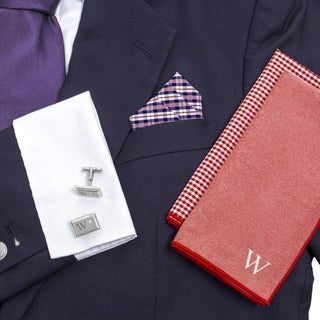 Personalized Red/ Navy Gingham Handkercheif Set with Zircon Jewel Cuff Links