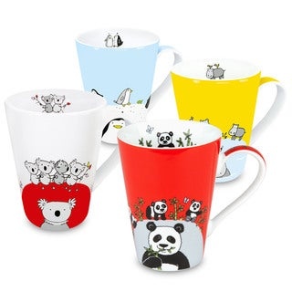 Waechtersbach Globetrotter Animals Zoo Panda/ Hippo/ Koala/ Penguin Mugs (Set of 4)
