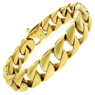 Yellow Goldplated Stainless Steel Men's Cuban Bracelet