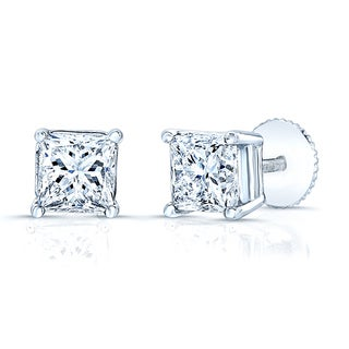 Platinum 1/2ct TDW Princess-cut Diamond Stud Earrings (H-I, VS1-VS2)