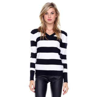 Stanzino Women's V-neck Long Sleeve Striped Sweater