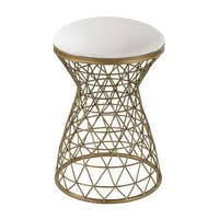 Sterling Industries Grey Linen Stool With Gold Legs Free