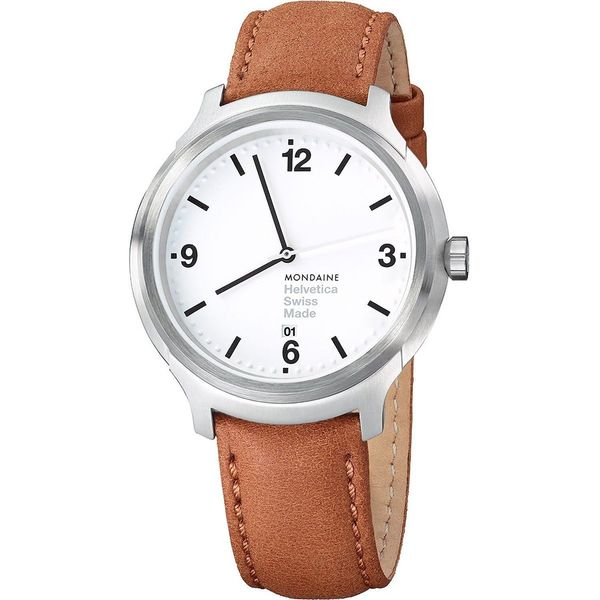 5887d2dbf0ee4 Shop Mondaine Men s MH1B1210LG  Helvetica No. 1 Bold  Brown Leather Watch -  Free Shipping Today - Overstock - 10594265