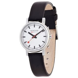 Mondaine Women's A6583030111SBB 'Swiss Railways Evo' Slim Black Leather Watch