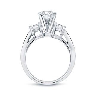 Auriya 14k Gold 3ct TDW Princess-Cut Diamond 3-Stone Bridal Ring Set