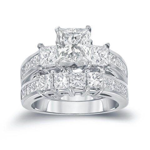 Auriya 14k Gold 3ct TDW 3-Stone Princess-Cut Diamond Engagement Ring Set