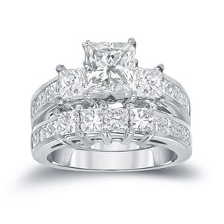 Auriya 14k Gold 3ct TDW Princess-Cut Diamond 3-Stone Bridal Ring Set
