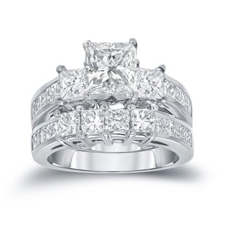 Auriya 14k Gold 3ct TDW 3-Stone Princess-Cut Diamond Engagement Ring Set