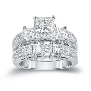 Auriya 14k Gold 3-Stone 3ct TDW Princess-Cut Diamond Engagement Ring Set