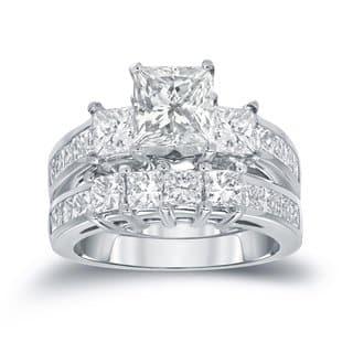 Auriya 14k Gold 3 carat TW Princess-cut 3 Stone Diamond Engagement Ring Set
